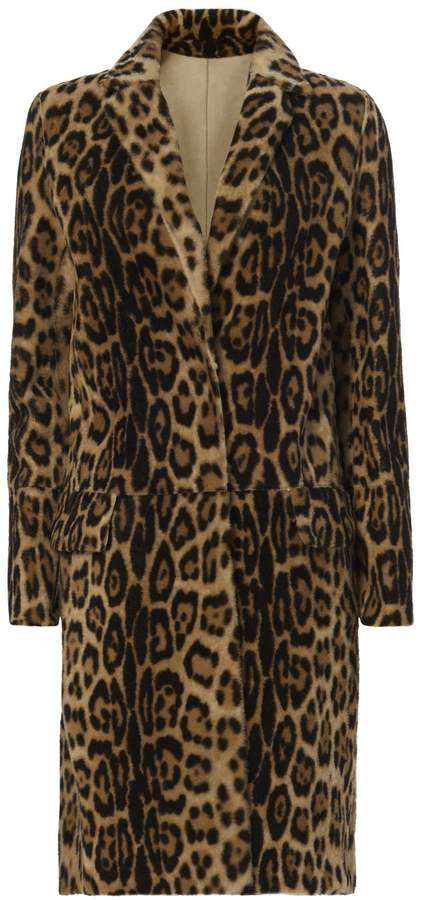 Yves Salomon Leopard Pattern Shearling Lamb Coat