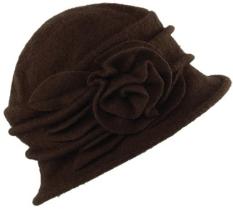 StarTreene Wool Bucket Hats for Ladies Vintage Autumn Winter Cloche Cap with Flower (Coffee One Size)