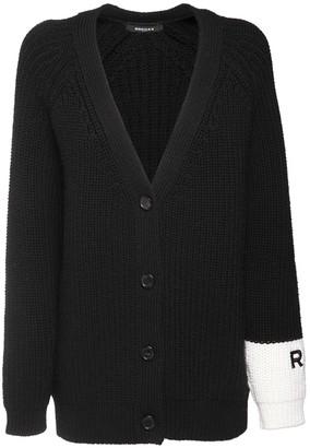 Rochas Rib Knit Wool Cardigan W/ Logo Detail