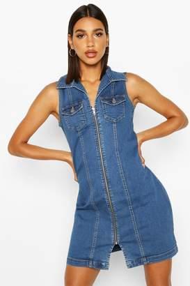 boohoo Zip Front Power Stretch Denim Bodycon Dress