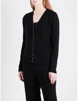 Altuzarra Ladies Black Knitted Classic Agnella Faux-Pearl Embellished Wool Cardigan