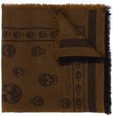 Alexander McQueen Brown Skull weave scarf - men - Cotton/Viscose - One Size