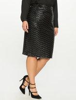 ELOQUII Plus Size Studio Sequin Chevron Pencil Skirt