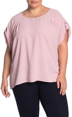 MelloDay Short Sleeve Pocket Blouse (Plus Size)