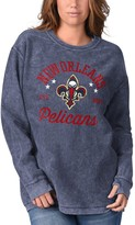 G Iii Women's G-III Sports by Carl Banks Navy New Orleans Pelicans Slouchy Comfy Cord Crewneck Pullover Sweatshirt