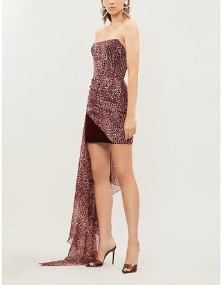 Rasario Draped leopard-print crepe and velvet midi dress