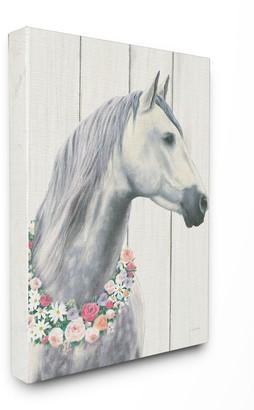 Stupell Home Decor Spirit Stallion Horse With Flower Wreath Canvas Wall Art