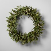 """Hearth & Hand with Magnolia Artificial Lamb Ear and White Berry Wreath (24"""")"""