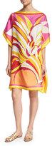 Emilio Pucci Fiore Maya Printed Silk Caftan Coverup, Pink/Orange