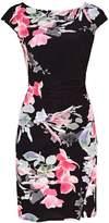Wallis Petite Black Floral Ruches Side Shift Dress