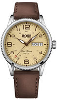 HUGO BOSS Pilot Stainless Steel and Leather Strap Watch, 1513332