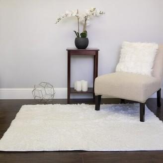 Wrought StudioTM Hutton Plush Faux Fur White Area Rug Wrought Studio