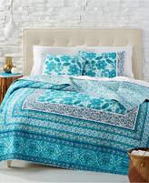 Jessica Simpson Aqua Flora Cotton Reversible Full/Queen Quilt Bedding