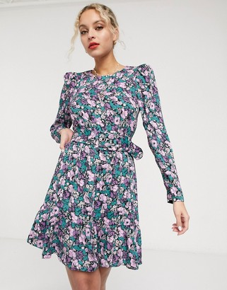 And other stories & floral print belted mini dress in multi