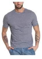 Nobrand No Brand Men's Blue Linen T-shirt.