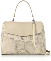 Alviero Martini Geo Safari Print and Cream Grained Leather Satchel Bag w/Shoulder Strap