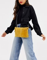 Asos Design DESIGN SUEDE cross body bag in mustard