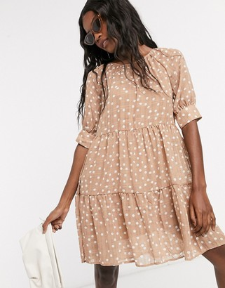 Object linen smock dress in light brown polka dot