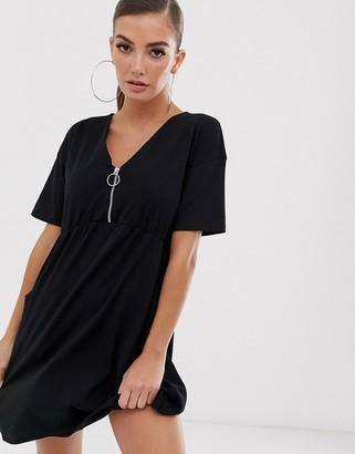 Asos Design DESIGN zip front smock dress with pockets-Black