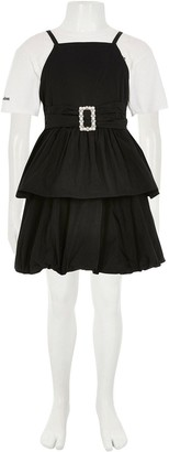 River Island Girls 2 In 1 Belted Prom dress-Black/White