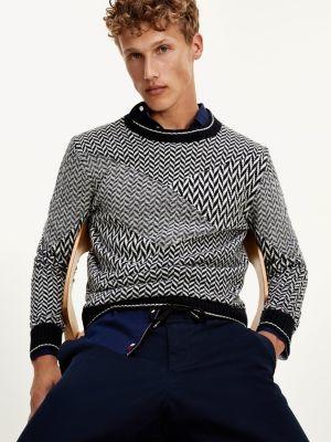 Tommy Hilfiger Contrast Herringbone Pure Wool Jumper