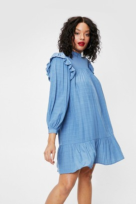 Nasty Gal Womens Frill You Be There Plus Mini Dress - Blue