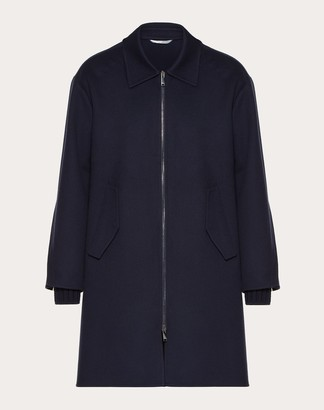 Valentino Wool Coat Man Navy Virgin Wool 90%, Cashmere 10% 50