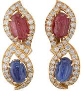 Mahnaz Collection Vintage Women's Mixed-Gemstone Clip-On Earrings