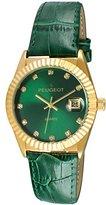 Peugeot Women's 14K Gold Plated Coin Edge Bezel Green Leather Band Dress Watch 3045GR