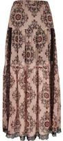 River Island Womens Pink paisley print lace panel maxi skirt