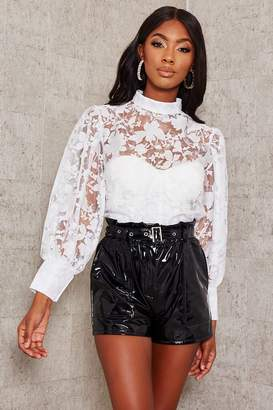 I SAW IT FIRST Black Faux Leather Belted Paperbag Shorts