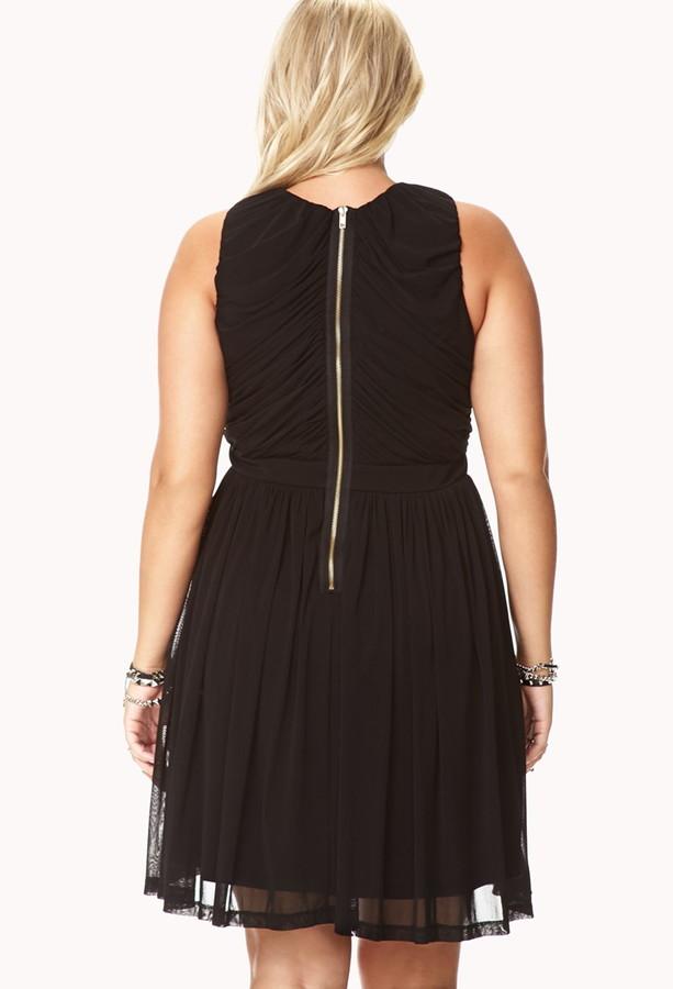 Forever 21 FOREVER 21+ Elegant Draped Fit & Flare Dress