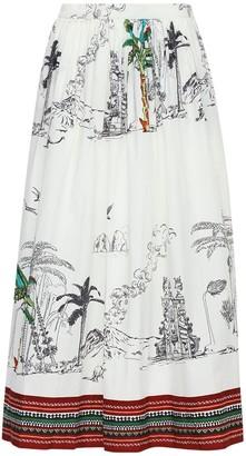 Le Sirenuse Positano New Jane Printed Cotton Midi Skirt