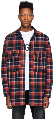 Fear Of God Navy and Red Plaid Shirt