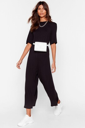 Nasty Gal Womens Chill Zone Relaxed Culotte Jumpsuit - Black - 4, Black