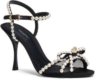 Dolce & Gabbana Imitation Pearl Quarter Strap Sandal