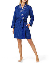 Eileen West Lace-Trimmed Dotted Robe