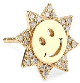 Sydney Evan 14K Yellow Gold & Diamond Happy Face Single Stud Earring
