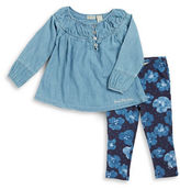 Calvin Klein Girls 2-6x Chambray Peasant Top and Leggings Set