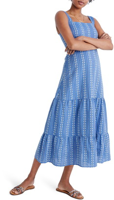Madewell Dobby Stripe Button Back Tiered Sundress