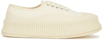 Jil Sander Ecru Canvas Flatform Sneakers