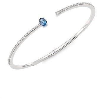 Hueb Spectrum Diamond, London Blue Topaz & 18K White Gold Bangle