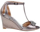 Badgley Mischka Nedra II Embellished Metallic Leather Wedge Heel Sandals