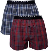 Boss Two Pack Red & Blue Woven Boxer Trunks