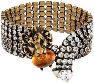 Gucci lion head crystal-embellished bracelet