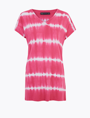 Marks and Spencer Tie-Dye V-Neck Relaxed Longline Top