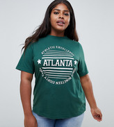 Daisy Street Plus boyfriend t-shirt with atlanta print