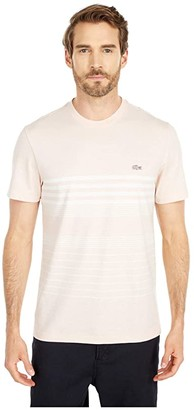 Lacoste Short Sleeve Striped Tee in Cotton/Linen Blend Jersey Chic (Lata/Flour) Men's Clothing