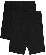 Marks and Spencer 2 Pack Girls' Cotton Cycle Shorts with Stretch