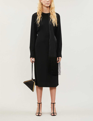 Victoria Victoria Beckham Fringed scarf-detail crepe dress